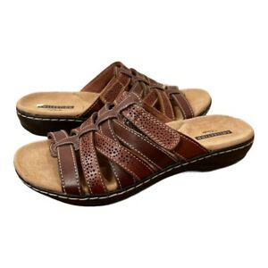 Naturalizer Womens Shoes Size 6 Sandals Solid Brown Slides Cushioned Comfort
