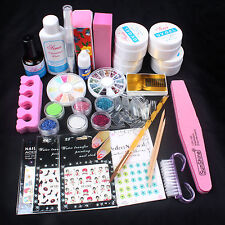 Pro Acrylic Glitter Powder Glue French UV Gel Brush Sticker Nail Art Set New