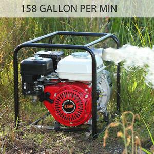 """6.5 HP 2"""" Gas Power 158GPM Semi-Trash Water Pump High Pressure Garden Irrigation"""