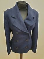G888 WOMENS CHARLES TYRWHITT BLUE WOOL CASHMERE DOUBLE BREASTED PEA COAT UK 12