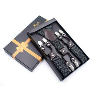 Black Grey Dual Clip On Elastic suspenders for Men - Adjustable Y Straps For Wor