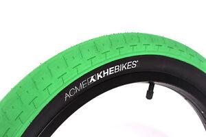 "KHE BMX Bike Tyre ACME, 20"" x 2.40"", Green-Black Sidewall"