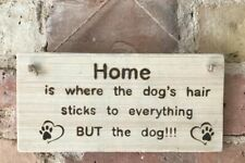 ** Handmade Dog Sign Plaque In A Natural Finish ** Wood Burning Pyrography **
