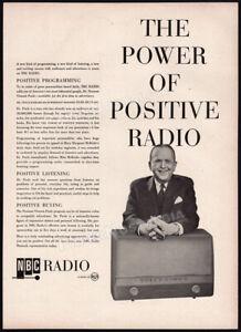 NBC Radio - DR. NORMAN VINCENT PEALE__Orig. 1955 Trade print AD __Power Positive