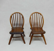 Vintage Pair Of Windsor Back Chair Dollhouse Miniature 1:12