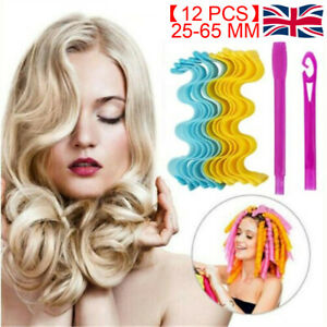 UK Magic Curlers No Heat Hair Spiral Curl Formers Leverage Rollers with Hook