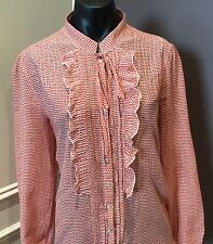 Sportscraft Silk Cotton blouse shirt  14  Orange White Print  as new