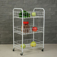 3/4 Tier Fruit Trolley Basket Rack Kitchen Storage Vegetable cart With Wheels