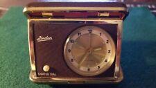 Vintage Linden Travel Alarm Clock Brown & Gold Case Lighted Dial Made in Japan