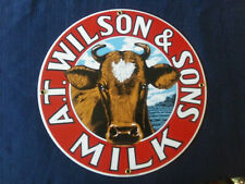 A.T. Wilson & Sons Milk Porcelain Sign Dairy Beautiful Graphics Free Shipping