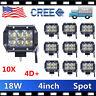 10X 4inch 18W CREE LED Work Light Bar 4WD Offroad Spot Fog ATV Driving Lamp 4D+