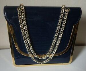 Vintage Navy Blue Faux Patent Leather Evening/Shoulder Bag. Gold Edging & Chain.