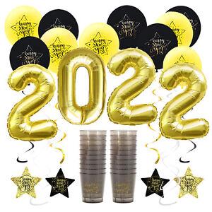 Happy New Year Silvester Neujahr 2022 Deko Set - Ballons Girlanden Trinkbecher