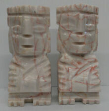 Vintage Aztec Mayan Totem Book Ends Carved Marble Stone