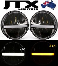 "7"" LED Headlights White DRL Flash Amber Landrover Defender 90 110 130"