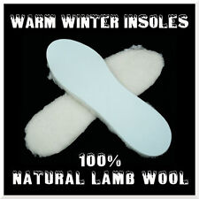 100% Natural Warm Lamb Wool Insoles Winter Shoes Thermal Fleece Pads Size 42 EUR