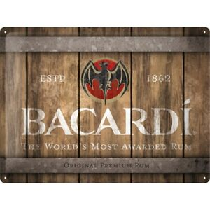 BACARDI Rum Wood Barrel- Retro Blechschild: 30x40 geprägt