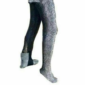 Round Riveted With Flat Warser Chain mail shirt 6 mm leggings, Medieval legging