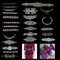 Diamante Crystal Motif Rhinestones Applique Patches for Wedding Bridal Dresses