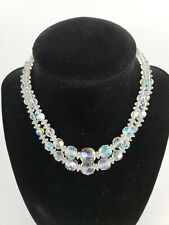 Vintage Aurora Borealis Crystal Beaded Graduated Two Strand Necklace Small