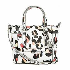 New Guess Delaney White & Black Leopard Print Mini Tote Crossbody Handbag Purse
