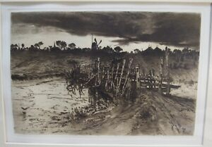 TWEEN THE GLOAMIN AND THE MIRK ORIGINAL ETCHING BY. MARY NIMMO MORAN 1883 MATTED