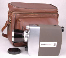 Vtg ARGUS Super 8 Camera-Instant Load 811-Handle-Leather Case-Lens Flare Cover