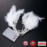 20 Pink White Fluffy Feather LED Battery Fairy Lights 2.4M Bedroom Xmas Indoor