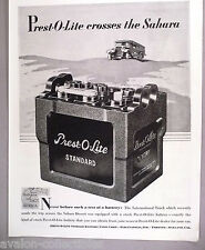 Prest-O-Lite Battery PRINT AD - 1929 ~ car, automobile, auto ~crosses The Sahara