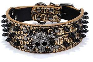 New Dog Leather Collar Spiked & Studded Adjustable Dog Collar Skull Charm Brown