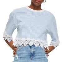 TOPSHOP Blue and White Stripe Lace Hem Crop Shirt NWT US Size 8 (UK Size 12)