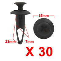 30Pcs Universal Black Plastic Rivets Panel Retainer Fastener Clip 7mm Hole