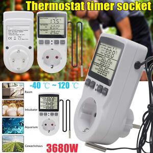 1/2X Digital Temperaturregler Thermostat mit Fühler Timer Schalter EU Steckdose