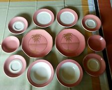 12 piece SHENANGO CHINA FLAMINGO PINK PALM TREE PLATES BOWLS  CUP LUAU TIKI BAR