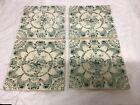 4x Antique Tiles, Green & White Floral Design, Victorian