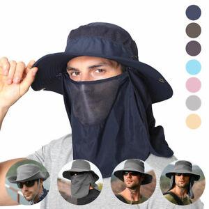 Herren UV-Schutz 50+ Anglerhut Sonnenhut Gesichtsschutz Hüte mit breiter Krempe