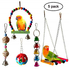 Bird Parrot Toys Hanging Bell Pet Bird Cage Hammock Swing Toy Wooden Perch Toy