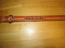 CUSTOM MADE LEATHER DOG COLLAR WITH YOUR DOG'S NAME 1 1/2 width TAN