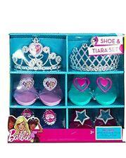 Barbie Beautiful Shoe & Tiara Dress Up Set 2 Tiaras 4 Pairs Shoes Playtime New