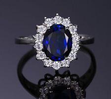 925 Silber Ring Königsblau Kristall Royal Blau Stein Zirkonia Damen Schmuck Neu*