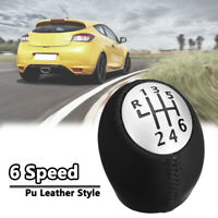 6 Speed Gear Stick Shift Knob PU Leather For RENAULT Laguna Megane Clio Scenic
