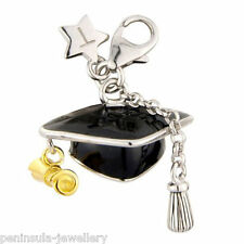 Sterling Silver clip on Tingle Charm Mortar Graduation Hat with Gift Bag and Box