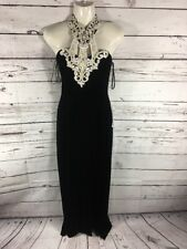 #146- 90's Gown Halter Top Black With Sequence With Shaw Back