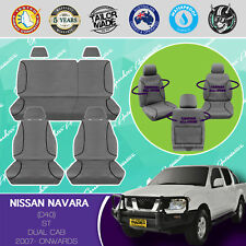 NISSAN NAVARA D40 2007- ONWARDS CANVAS WATERPROOF TAILOR MADE GREY SEAT COVERS