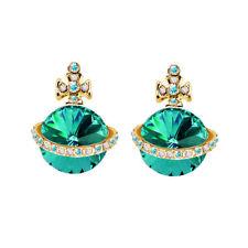 May Birthstone Emerald Green Crystal Orb Ufo Cross Vintage Style Stud Earrings