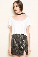 Brandy melville Purple Black Floral silky chinese floral mini moss skirt NWOT
