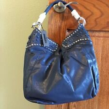 High Fashion Handbags Studded Hobo with Button Detail, Blue, NWT