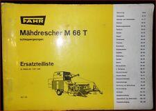 Fahr Mähdrescher M 66 T Ersatzteilliste