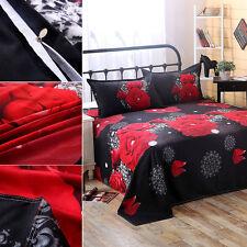 3D Red Rose Pattern Four-piece Bedding Set Duvet Cover Pillow Case Flat Sheet