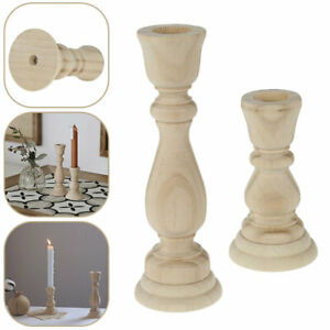 Rustic Shabby Chic Carved Pillar Church Wooden Candle Holder Stick Stand Decor